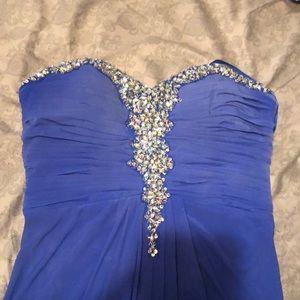 Long blue beaded prom dress size 13